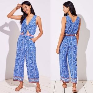 LOFT BEACH BORDER TIE KEYHOLE CUTOUT JUMPSUIT XL